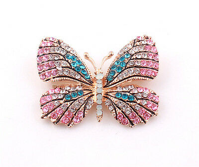 Nice New Colorful Cute Rhinestone Crystal Butterfly Brooch Pin Charm Women Gift