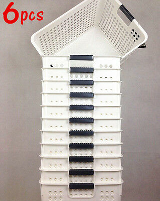 6x Quality Small White Basket With Handle Storage Basket Organizer HH019556