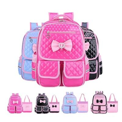 Children Leather Bow School Backpack Bags for Primary Girls Students Rucksack