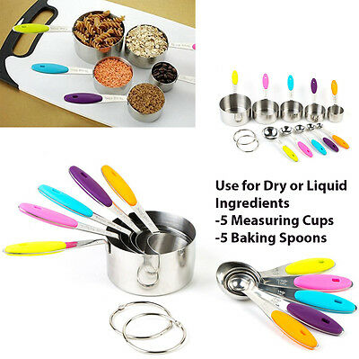 10 Pcs MEASURING CUPS & BAKING SPOONS Set -Stackable, Dry & Liquid Ingredients