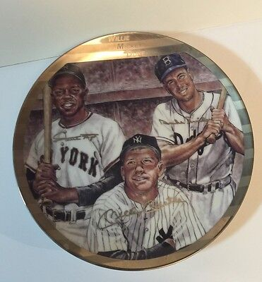 """""""willie, Mickey And Duke"""" (Mays/mantle/snider) 8.5"""" Ltd Ed Collectors Plate 1990"""