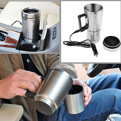 12V Car Auto Adapter Heated Mug Thermos Cup Kettle Water Boiler 2 In 1 Traveling