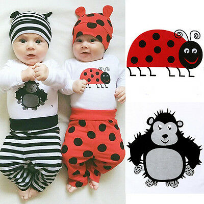 3PCS Set Newborn Baby Boys Girl Tops Rompers Long Pants Hat Outfit Clothes 0-18M
