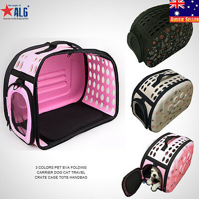 3 Colors Pet EVA Folding Carrier Dog Cat Travel Crate Cage Tote Handbag