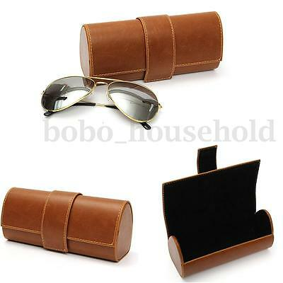 Leather Case Eye Glasses Sunglasses Protector Eyewear Box Holder Clam Shell NEW