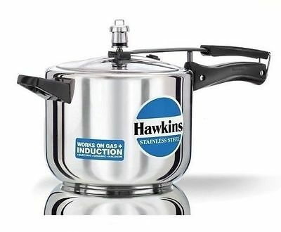 Hawkins Silver Stainless Steel Pressure Cooker 2 Ltr. Induction Base Brand New