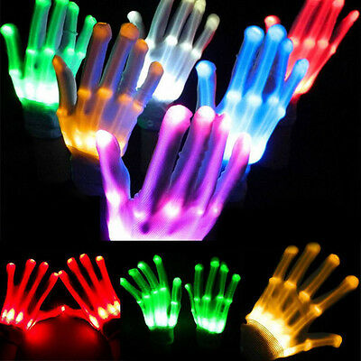 Halloween LED Flashing Finger Light Up Colorful Lighting Gloves For Rave Party