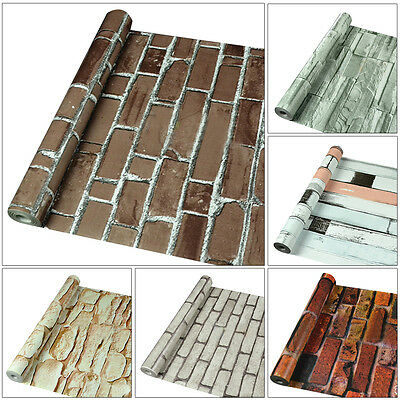 3D Wallpaper Faux Brick Stone Self-adhesive Waterproof Wall Paper Wall Decor 10M