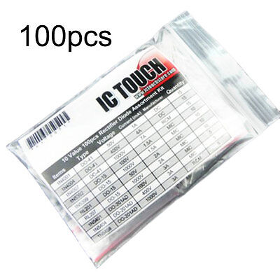 10 Value Kinds 100pcs Rectifier Diode Diodes Assortment Kit Set 50/400/1000V F7