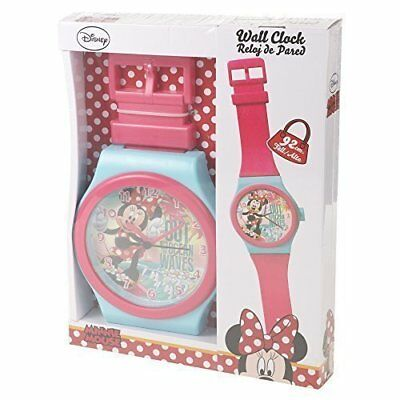 Disney Minnie Mouse Pink & Turquoise Jumbo Wristwatch Wall Clock 92cm