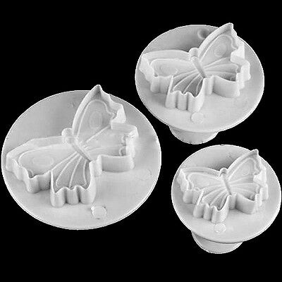 3 pcs Butterfly Plunger Sugarcraft Fondant Cutter Mold Cake Decorating DIY Tools