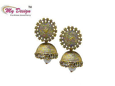 Ethnic Bollywood Jewelry Gold Oxidized Indian Pearl Earrings Jhumka Jhumki Set