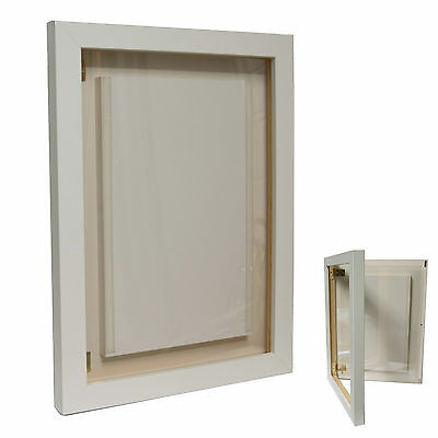 A3 White Wooden Frame Photo Menu Display Case Poster Sign Holder - Wall Mounted