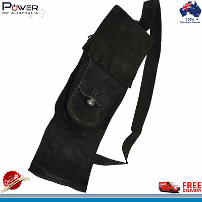 Archer's Choice, Traditional Black Suede Leather Back Quiver with Front Pocket