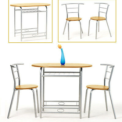 Beech Wooden Oval Dining Bar Table 2 Chairs Breakfast Kitchen Bistro Small Set