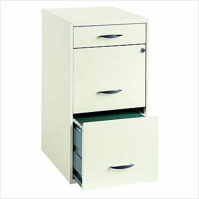 Filing Cabinet File Storage 3 Drawer Steel Vertical Hanging File in White