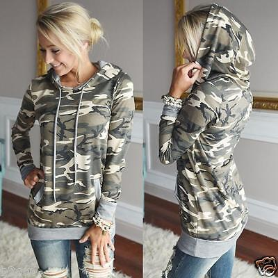 New Women Camouflage Pocket Hoodie Sweatshirt Hooded Pullover Tops Casual Blouse