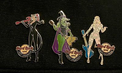 Hard Rock Cafe 2012 Online Halloween 3 Pin Set Sexy Witch Cat Mummy LE 50