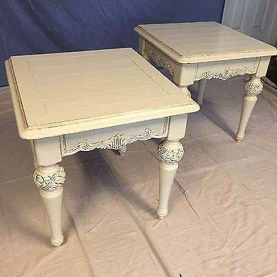 2 Matching Vintage White Side Tables