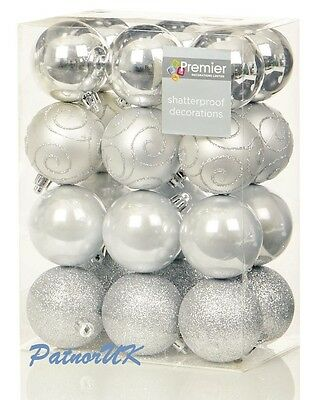 Marvelous 24 X 60Mm Shatterproof Luxury Silver Baubles Premier Christmas Easy Diy Christmas Decorations Tissureus
