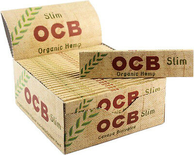 OCB Slim Organic Hemp King Size Rolling Papers - 1 Box 50 Booklets