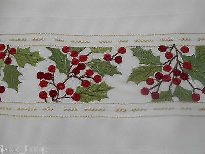 "EMBROIDERED HOLLY AND BERRIES CHRISTMAS TABLE RUNNER 8"" x 63"""