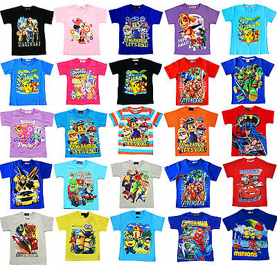 NEW Sz 1~12 KIDS TSHIRT TEE SHIRT GIRLS BOYS SUMMER TOP PAW PATROL SPIDERMAN PJ