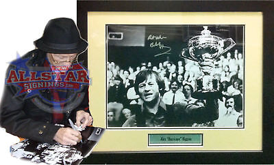Framed Alex Hurricane Higgins Signed Snooker Photograph See Proof