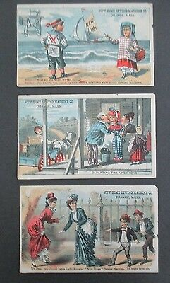 Lot of 3 NEW HOME SEWING MACHINE Victorian Trade Cards