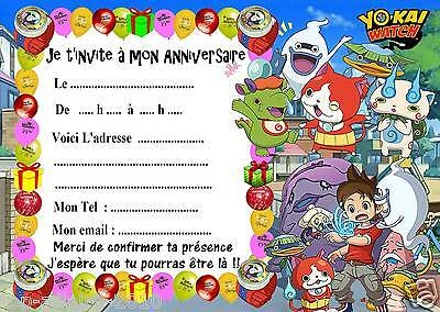 5 cartes invitations anniversaire Yokai Watch 07