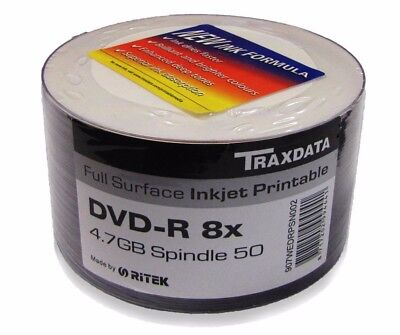 50 Traxdata white printable Blank DVD-R 8x Discs 4.7GB Ritek G05 Tracked post