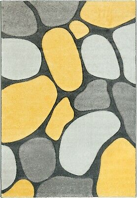 Yellow Rug Runner Contemporary Pebbles Design Soft Thick Pile Grey Silver Lemon
