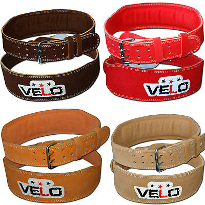 "VELO 4"" Weight Lifting Belt Suede Leather Back Support Strap Gym Power Training"