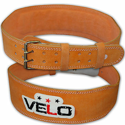 """VELO Weight Lifting 4"""" Suede Leather Belt Back Support Gym Power Training Strap"""