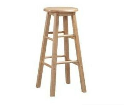 Linon Home Decor Round Wood Bar Stool 24 in. Modern Counter Kitchen Seat Chair