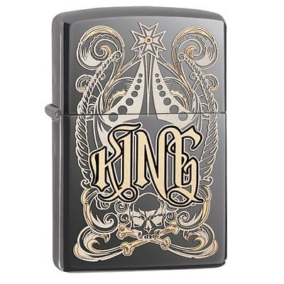 NWT! Zippo King Pocket Lighter 28798 Windproof Lighter Black Ice Finish