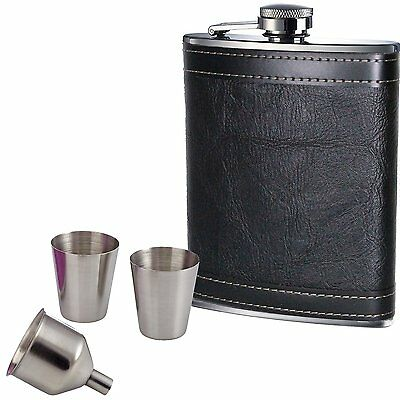 8oz Hip Flask Set Black Leather Effect Quality Stainless Steel 2 Cups Funnel