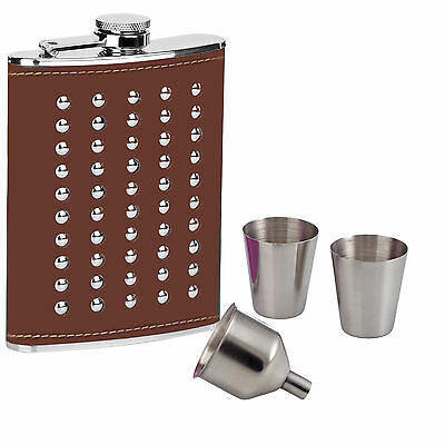 8oz Hip Flask Set Studded Brown Leather Effect Stainless Steel 2 Cups Funnel