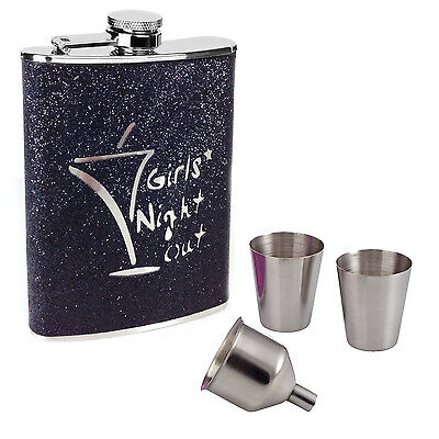 8oz Hip Flask Set Black Glitter Girls Night Out Stainless Steel 2 Cups & Funnel