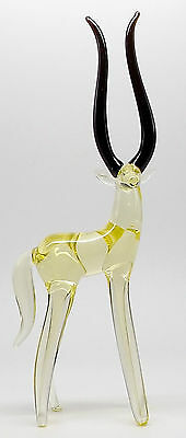 Yellow Antelope Crystal Glass Figurine Ornament Handmade Gift Idea Uk Seller New