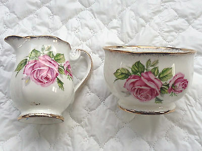 Royal Standard 'Orleans Rose' Pink Roses Gold Accents Creamer/Sugar (897)