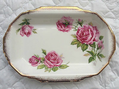 Royal Standard 'Orleans Rose' Pink Roses Gold Accents Small Rect. Dish (898)