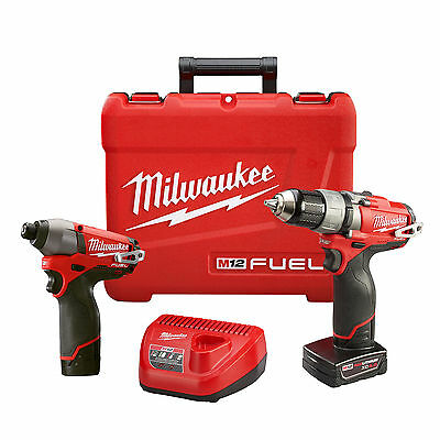 Milwaukee M12 FUEL 2-Tool Drill/Driver & Impact Combo Kit 2594-22 New
