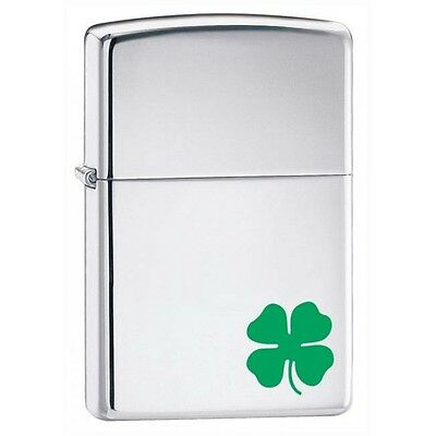 NWT! Zippo Polished Chrome 24007 w/shamrock logo Windproof Pocket Lighter