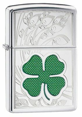 NWT! Zippo Clover w/shamrock Irish logo Windproof Pocket Lighter
