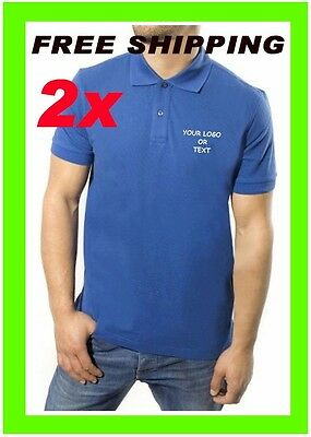 2 Polo Shirts Custom Embroidered Free Logo Business Sports