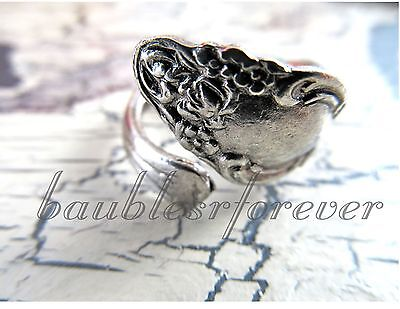 Vintage New Old Stock Ornate SPOON RING Sz 7 ADJUSTABLE SILVER PLATED