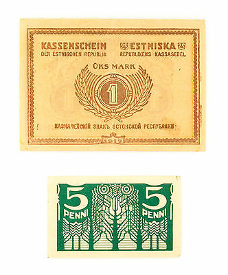 Set of 2 Estonia 1919 5 Penni P-39a xf-au & 1 Mark P-43a xf-pinholes