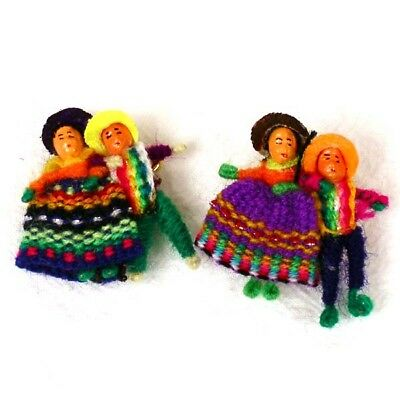#498 Two Worry Doll Pins Pairs Hand Made Fair Trade Peru Legend 2 Give 2 Keep