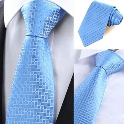 Fashion Classic Business Check Jacquard Woven Silk Men Tie Necktie Party Wedding